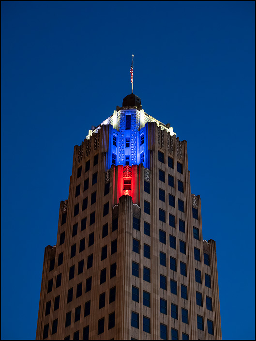 The Lincoln Tower illuminated with red white and blue lights on the Fourth of July 2019 in Fort Wayne, Indiana.