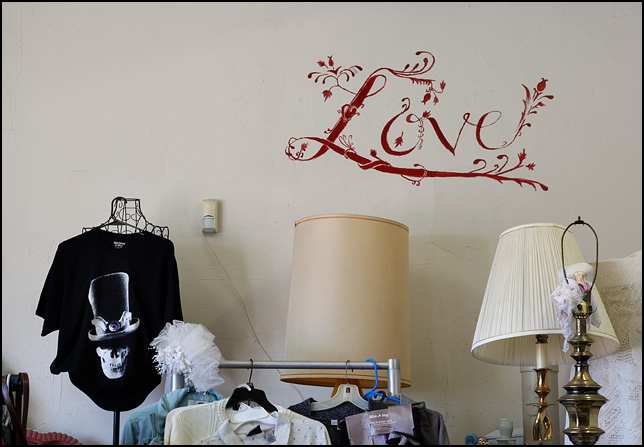 The word LOVE drawn in a fanciful script with leaves and flowers growing from the letters is painted on the wall of Little Shop of Lauras, a secondhand shop on Broadway in Fort Wayne, Indiana. Racks of used clothing and three old table lamps stand in front of the wall.