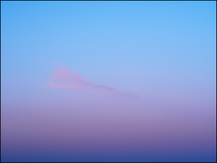 An abstract color field photograph of the evening sky in March, 2018. The sky was photographed at dusk in rural Allen County, Indiana. Number three of three.