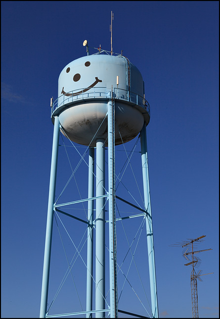 The blue water tower with a happy face painted on it in the small town of Markle, Indiana.