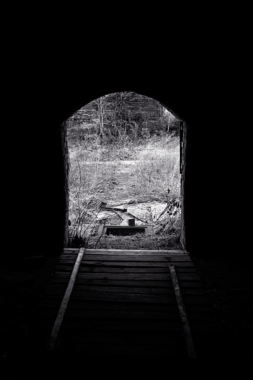 A view looking out through the arched doorway from the inside of a beehive kiln at the abandoned brick factory in Medora, Indiana.