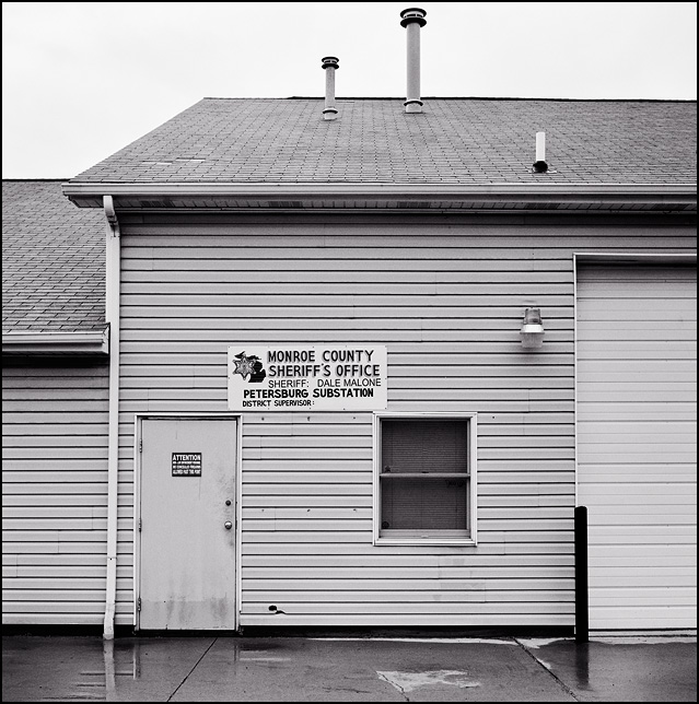 The tiny office of the Monroe County Sheriff in the small town of Petersburg, Michigan.