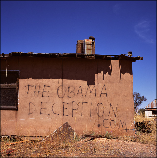 The Obama Deception. Anti-Obama graffiti on the side of an abandoned restaurant along Interstate 40 and old Route 66 in New Mexico.