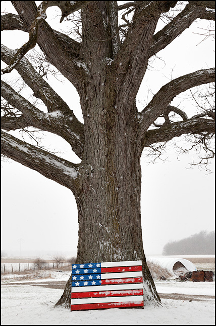 An American flag pallet leaned against the bottom of a large tree during a snowstorm. Located at a farm on O'Day Road in rural northwest Allen County, Indiana.