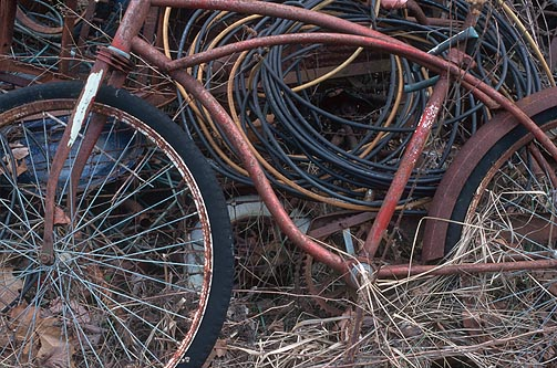 A rusty old bicycle with dried out rubber tires laying on a junk pile behind my grandfather's house.