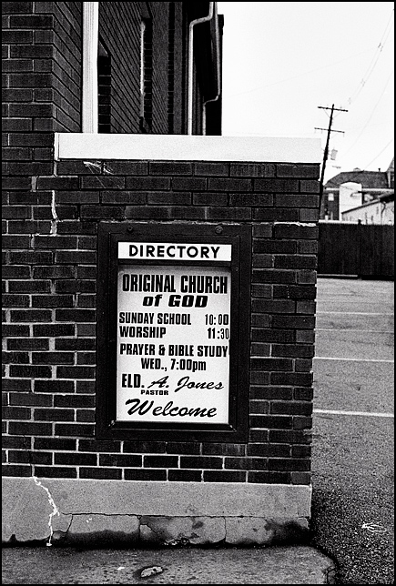 The sign for The Original Chuch of God on Clay Street in Louisville, Kentucky.