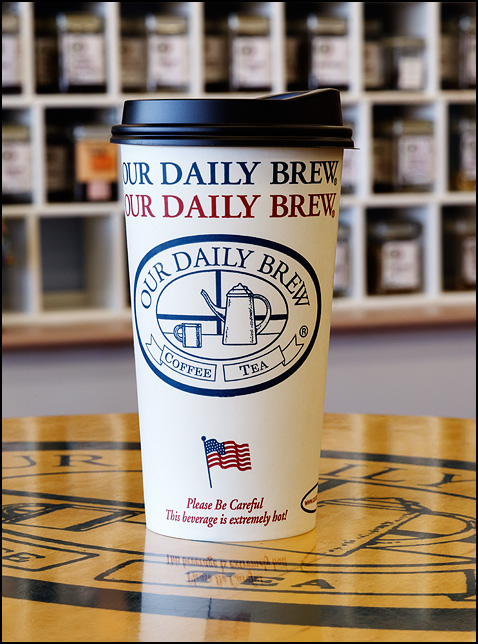 An American flag printed on a cup from Our Daily Brew, a locally owned coffee shop in Fort Wayne, Indiana.