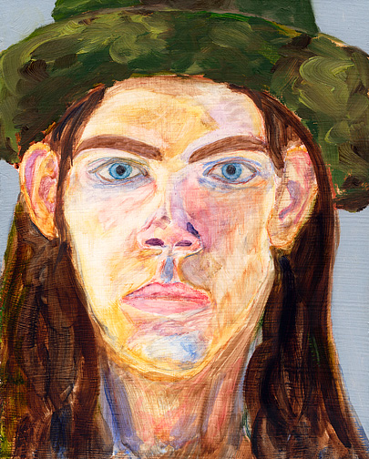 Self-portrait painted by fine art photographer Christopher Crawford in 1998. oil on masonite board.