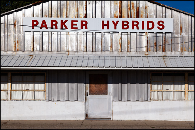 The former Parker Hybrids Seed Company building on Clark Street in the small town of Kimmell, Indiana.