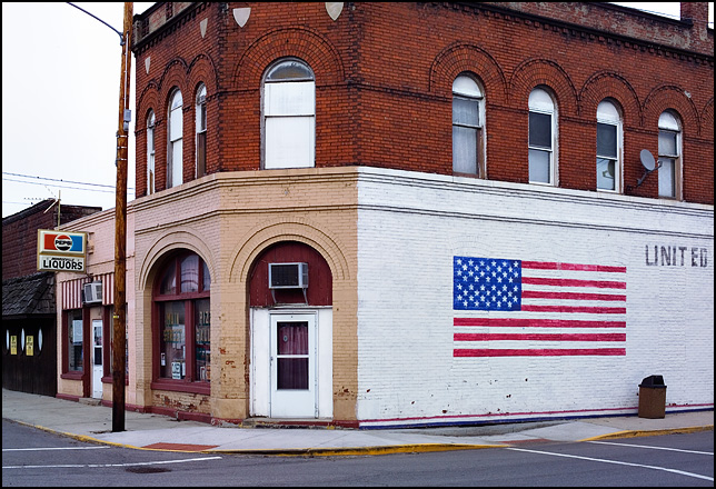 An American flag painted on the side of Patriot Pizza in the small town of Monroeville, Indiana.