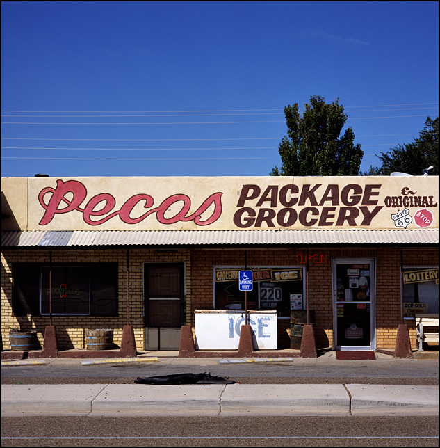 Pecos Package Liquor and Grocery on old Route 66 in Santa Rosa, New Mexico.