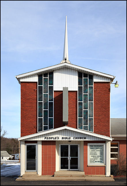 Peoples Bible Church on US-33 in the small town of Benton, Indiana.