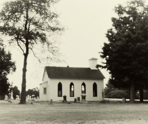Pinhole photograph of the 19th century church in the Prairie Grove Cemetery in Waynedale, Indiana.