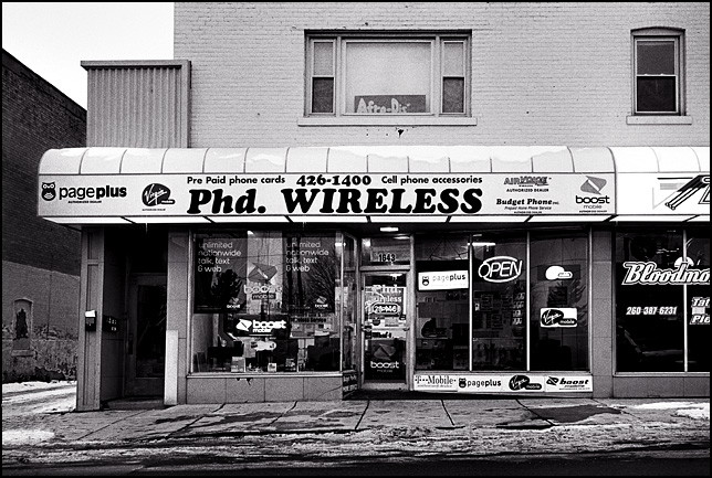 PhD Wireless cellphone shop on Wells Street in Fort Wayne, Indiana.
