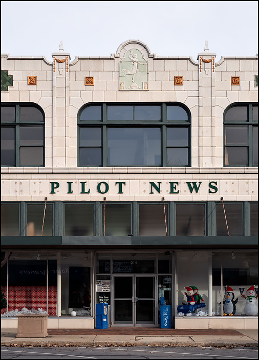 The Pilot News Building, a former Montgomery Ward store built in 1929 in the small town of Plymouth, Indiana. The terra-cotta facade includes the relief sculpture Progress Lighting The Way For Commerce by John Massey Rhind.