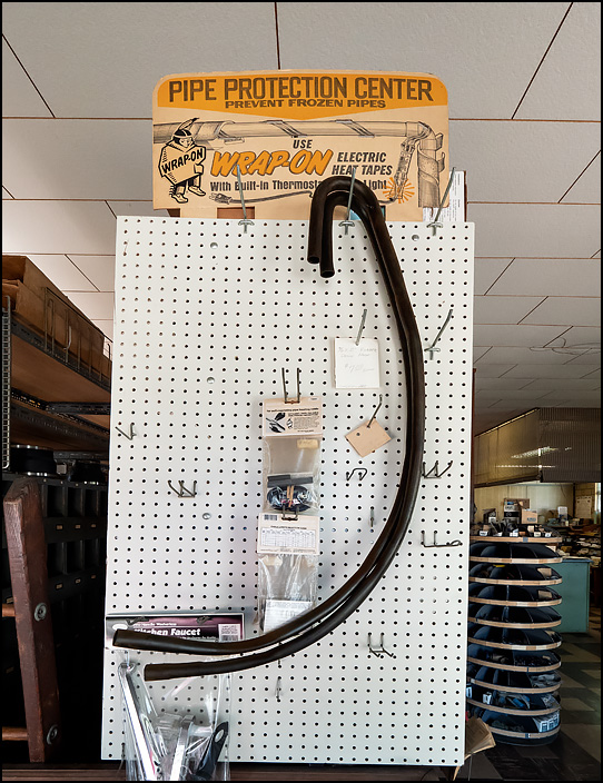An old product display at Waynedale Plumbing Supply in Fort Wayne, Indiana. Pipe Protection Center. Prevent Frozen Pipes with Wrap-On Electric Heat Tapes.