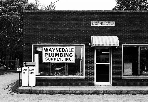 The Waynedale Plumbing Supply store in the Schmidt Building on Lower Huntington Road in Fort Wayne, Indiana.