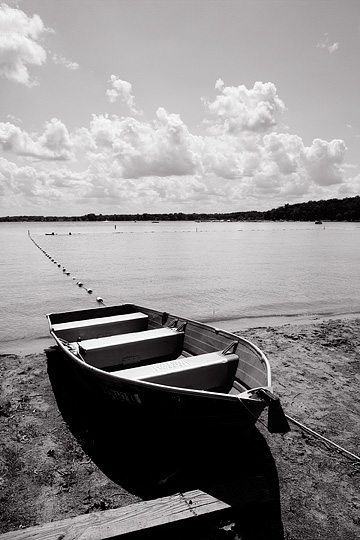 A rowboat on the beach at Lake James in Pokagon State Park in Steuben County, Indiana.