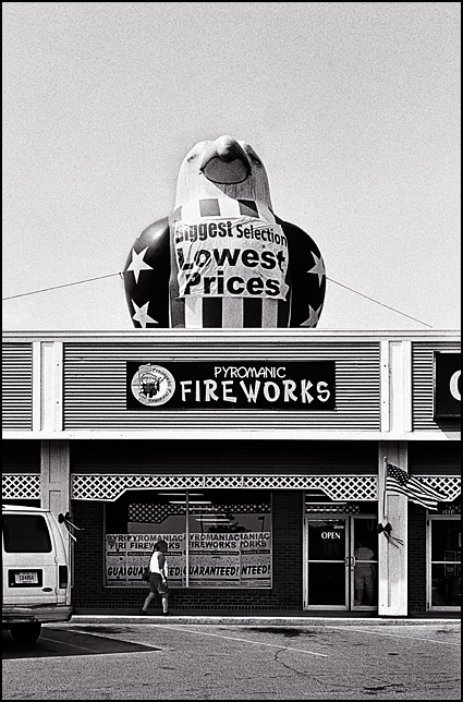 A giant inflatable eagle stands on top of Pyromaniac Fireworks in the Time Corners Shopping Center in Fort Wayne, Indiana.