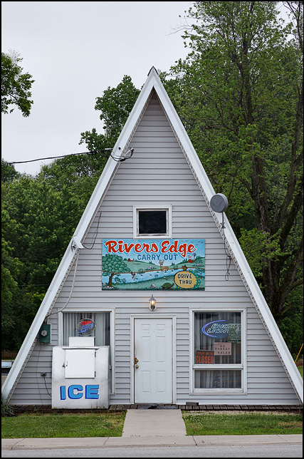 Rivers Edge Carry-Out, a liquor store in a small A-Frame building in the small town of Willshire, Ohio.