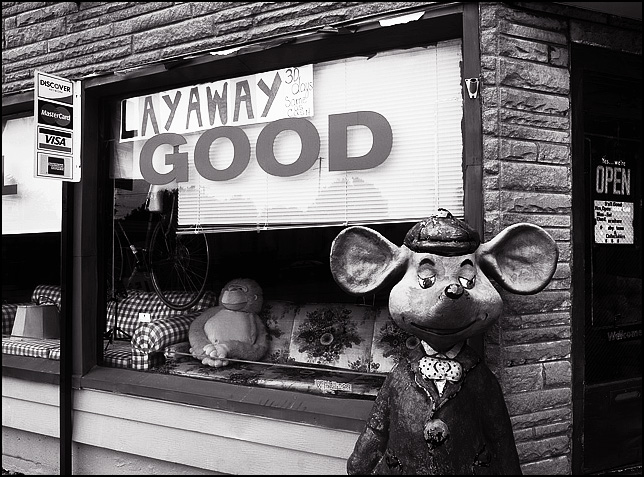 A large mouse statue standing on the sidewalk in front of S'All Good Used Furniture store on Wells Street in Fort Wayne, Indiana. The handwritten sign in the window says Layaway and there is a credit card sign on the front of the building. A couple of old sofas, a bicycle, and a big toy gorilla can be seen inside.