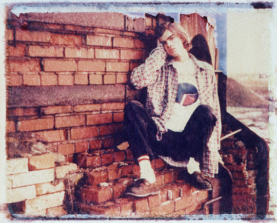 Polaroid image transfer photographic self-portrait of Christopher Crawford at an abandoned brick factory beehive kiln in Ohio.