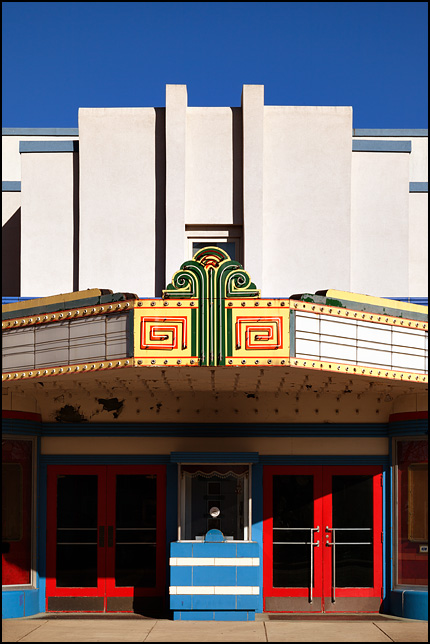 The marquee and entrance to the closed Silver Screen Cinema in the small town of Garrett, Indiana.