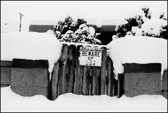 Several feet of snow cover the wall and gate in the front yard of a house in Santa Fe during a New Mexico blizzard.