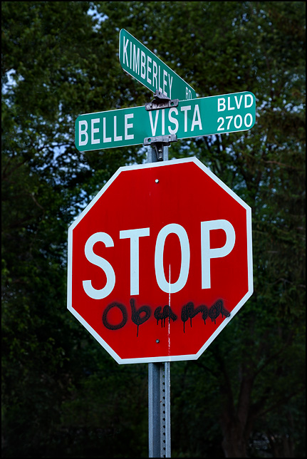 Anti-Obama graffiti on a stop sign that makes it say Stop Obama.