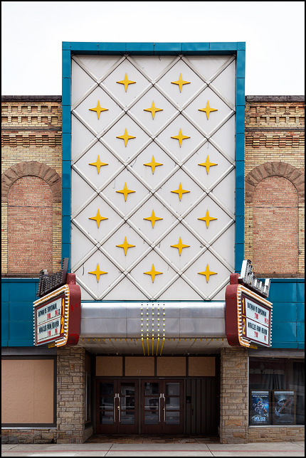 The facade of the Strand Theatre in the small town of Kendallville, Indiana.