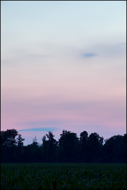 The blue and purple sky after sunset in rural Allen County, Indiana.