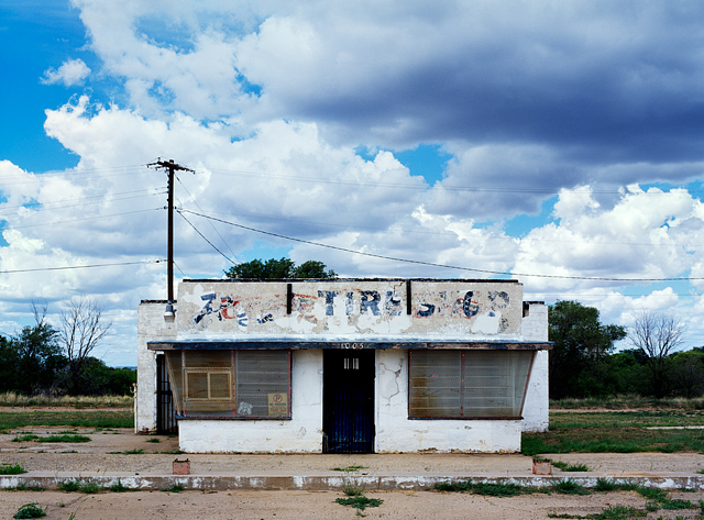 Abandoned Route 66 era tire shop in the small town of Tucamcari, New Mexico.