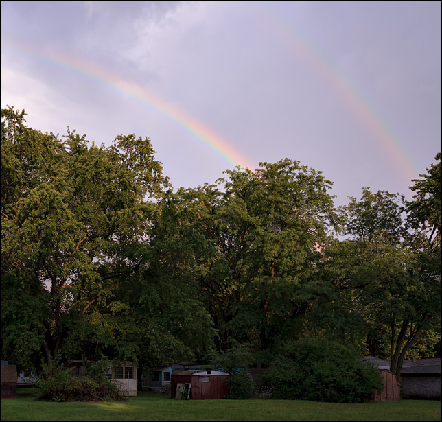 A double rainbow in the sky over the Cozy Acres trailer park on Sandpoint Road in Fort Wayne, Indiana.