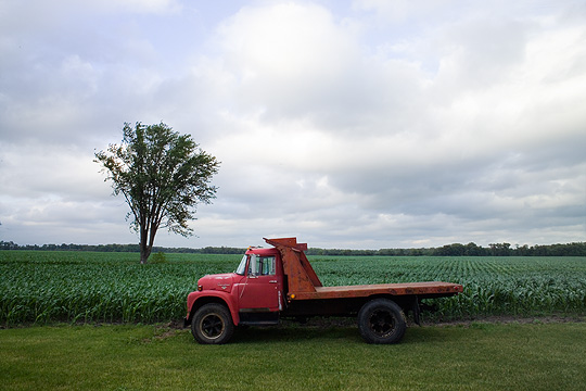 An old red International Harvester flatbed farm truck sitting in front of the cornfields in rural Pulaski County, Indiana. Rain clouds hover overhead and a lone tree in the field blows in the wind.