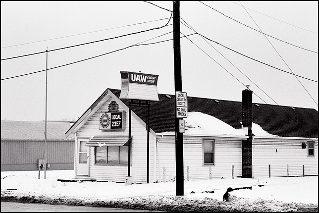 The former union hall of United Auto Workers Local 2357 in Fort Wayne sits covered in snow. The sign in front of the building says it is a great union.