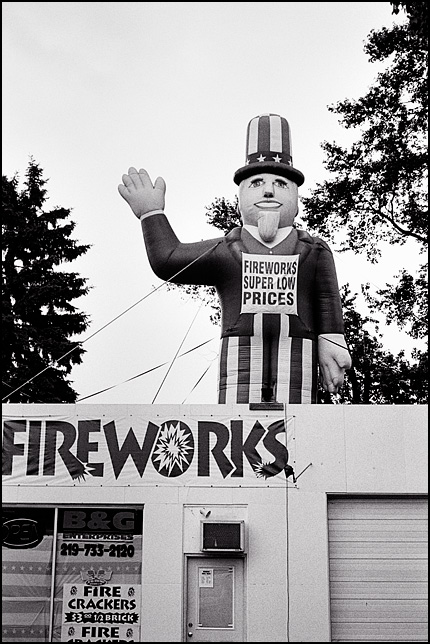 An inflatable Uncle Sam stands on top of B&G Enterprises Fireworks store on US-30 in rural northwest Indiana's LaPorte County.