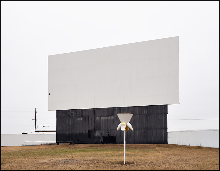 A funnel ball goal stands in front of the main screen at the Van-Del Drive-In Theatre outside the small town of Middle Point, Ohio.