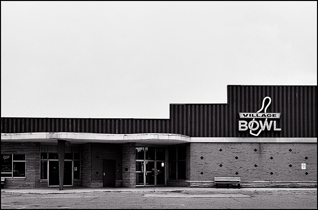 The closed Village Bowl bowling alley at the Quimby Village shopping center on Bluffton Road in Fort Wayne, Indiana.