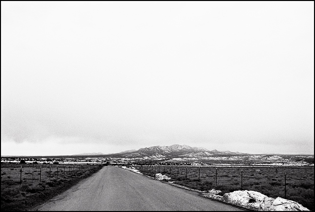 Looking toward the Ortiz Mountains on a dreary winter day on Waldo Canyon Road in New Mexico.