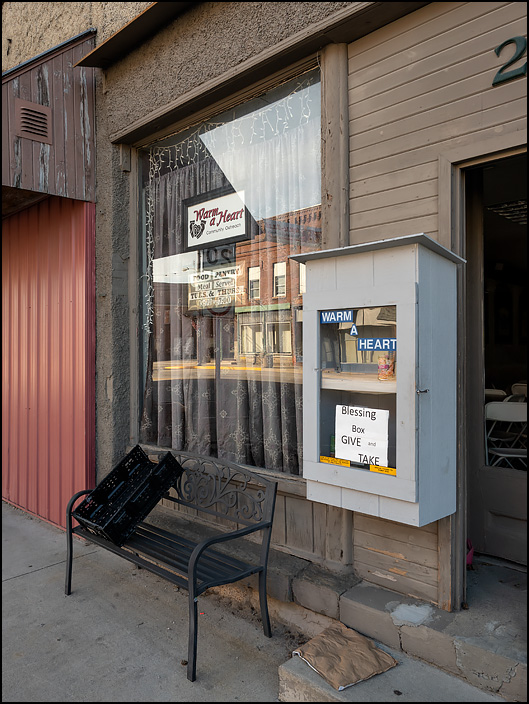 Blessing Box in front of Warm A Heart food bank on Wayne Street in the small town of Waterloo, Indiana.