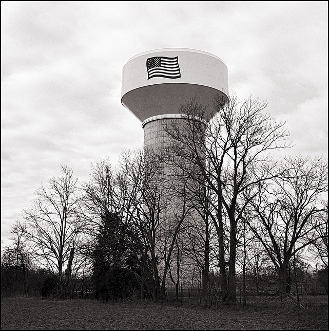 An American flag painted on a water tower on Lower Huntington Road in rural Allen County, Indiana.