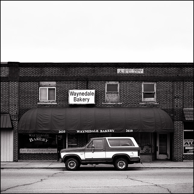 A Ford Bronco parked on the street in front of Waynedale Bakery on Lower Huntington Road in the Waynedale area of Fort Wayne, Indiana.