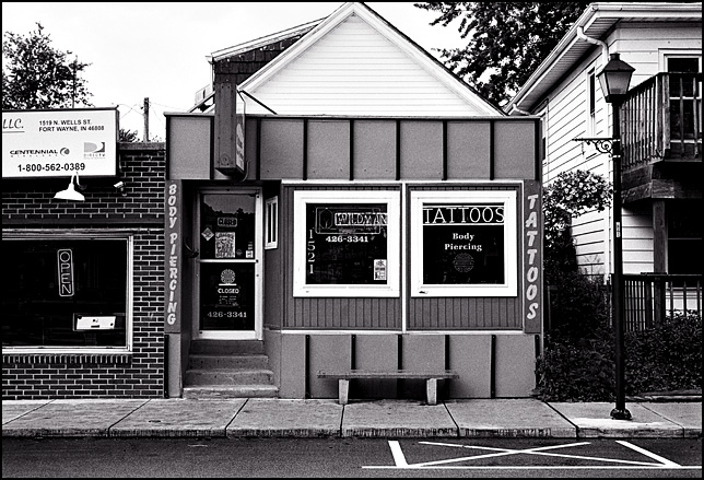 Wildman's Tattoo and Body Piercing shop on Wells Street in Fort Wayne, Indiana.