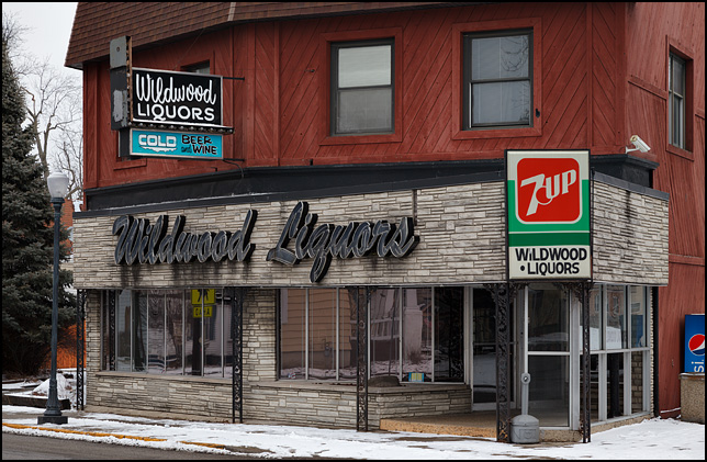 The closed Wildwood Liquors store on Broadway in Fort Wayne, Indiana.
