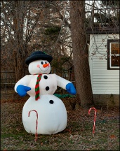 Inflatable Snowman and Candy Canes