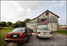 Barn With the Flag and Basketball in Indiana