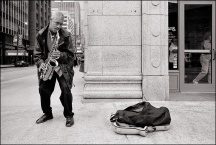 Busker on Michigan Avenue