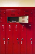 Lockers in the Cafeteria Hall at Elmhurst High