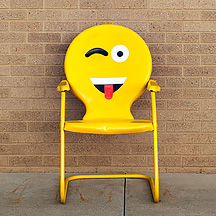 Emoji Chair in front of Fire Station Number 10 in Fort Wayne, Indiana.
