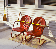 Photographs of old metal motel chairs